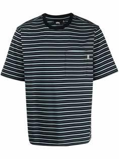 Stussy полосатая футболка с накладным карманом