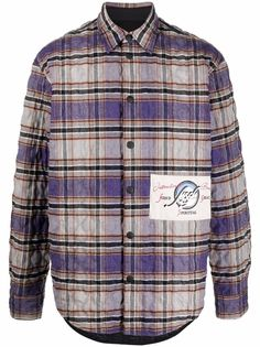 MSGM стеганая куртка-рубашка в клетку