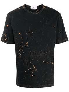 Stone Island футболка с эффектом разбрызганной краски и логотипом