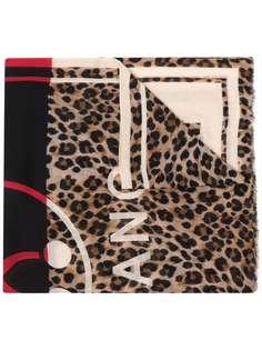 Moschino платок с леопардовым принтом и логотипом