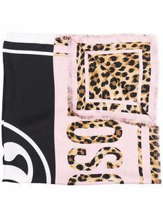 Moschino шелковый платок с леопардовым принтом