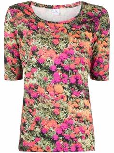 PS Paul Smith футболка с цветочным принтом и U-образным вырезом