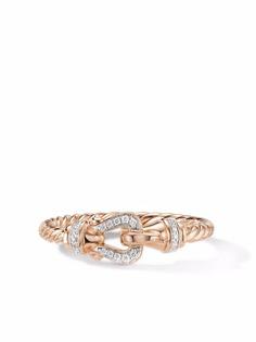 David Yurman кольцо Petite Buckle из розового золота с бриллиантами