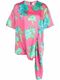 MSGM блузка с драпировкой и цветочным принтом