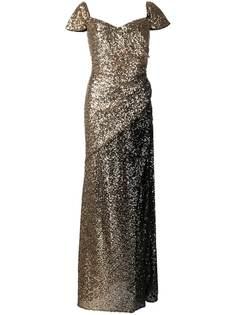Badgley Mischka вечернее платье с пайетками и эффектом омбре