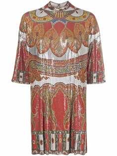 ETRO платье с абстрактным принтом и пайетками