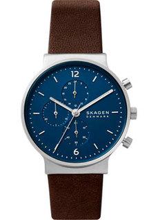 Швейцарские наручные мужские часы Skagen SKW6765. Коллекция Leather