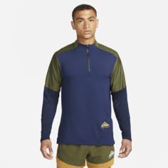 Мужская футболка для трейлраннинга с молнией на половину длины Nike Dri-FIT Trail - Синий