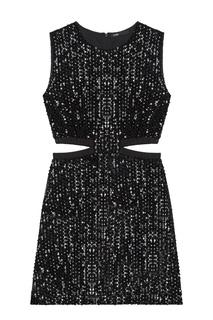 Черное платье с боковыми вырезами и пайетками Maje