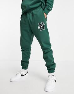 Зеленые джоггеры из плотного трикотажа с манжетами и логотипом Nike Retro-Зеленый цвет