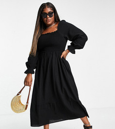 Черное платье макси из органического хлопка с объемными рукавами Vero Moda Curve-Черный цвет