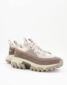 Серые кроссовки на шнуровке со вставками различных оттенков CAT Raider-Серый Caterpillar