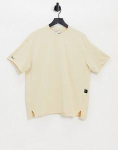 Бежевая выбеленная футболка с необработанными краями (от комплекта) Bershka-Светло-бежевый