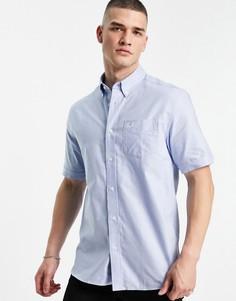 Светло-синяя оксфордская рубашка с короткими рукавами Fred Perry-Голубой