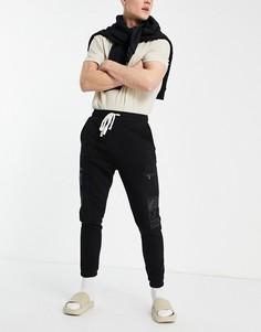 Черные джоггеры карго с карманами спринтом Bershka-Черный цвет