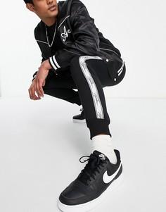 Черные джоггеры с фирменной отделкой на лентах Topman-Черный цвет