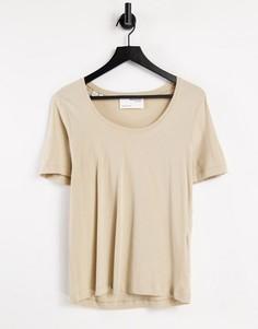 Бежевая футболка из органического хлопка с круглым вырезом Selected Femme-Светло-бежевый