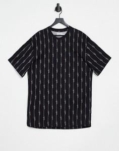 """Черная футболка в тонкую полоску в стиле """"casual"""" с короткими рукавами Topman-Черный цвет"""