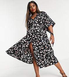 Платье миди с запахом и звериным принтом Liquorish Curve-Черный цвет