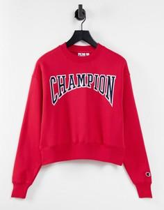 Красный свитшот свободного кроя с большим логотипом в университетском стиле Champion