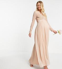 Нежно-розовое присборенное платье макси с длинными рукавами и плиссированной юбкой ASOS DESIGN Maternity Bridesmaid-Розовый цвет