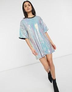 Белое переливающееся платье-футболка с пайетками Urban Threads-Белый