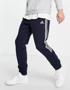 Темно-синие джоггеры с тремя полосками adidas Training-Белый