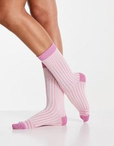 Блестящие носки в сиреневую полоску Selected Femme-Фиолетовый цвет