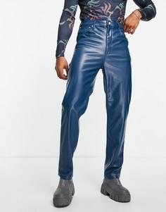 Голубые джинсы в винтажном стиле из искусственной кожи ASOS DESIGN-Голубой