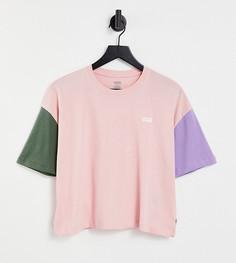 Розовая футболка свободного прямого кроя в стиле колор блок Vans – эксклюзивно для ASOS-Розовый цвет