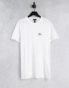 """Белая удлиненная футболка с вышивкой """"NLM"""" New Look-Белый"""