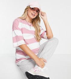 Футболка в стиле oversized в широкую розовую полоску ASOS DESIGN Maternity-Розовый цвет