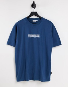 Темно-синяя футболка с логотипом Napapijri-Темно-синий