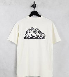 Светлая футболка с принтом на спине Napapijri Saretine – эксклюзивно для ASOS-Белый