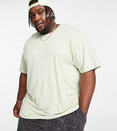 Шалфейно-зеленая футболка с принтом на спине Night Addict Plus-Зеленый цвет