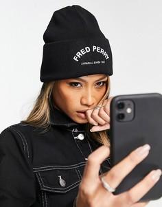 Черная шапка-бини с выгнутым логотипом Fred Perry-Черный цвет