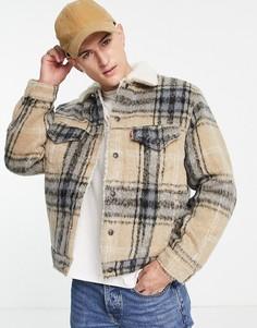 Бежевая шерстяная куртка свободного кроя в клетку с подкладкой из искусственного меха в винтажном стиле Levis-Светло-бежевый цвет