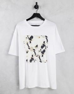 Белая oversized-футболка с принтом на груди в квадрате Topman-Белый