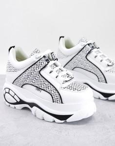 Массивные кроссовки белого и черного цвета Buffalo London-Белый