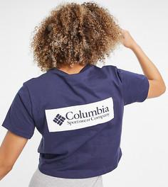 Темно-синяя укороченная футболка с принтом на спине Columbia North Cascades – эксклюзивно для ASOS-Темно-синий