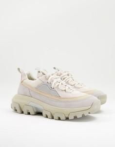 Белые кроссовки на шнуровке со вставками различных оттенков CAT Raider-Белый Caterpillar