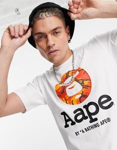Белая футболка с камуфляжным принтом в виде головы обезьяны AAPE By A Bathing Ape-Белый