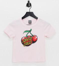 Облегающая футболка в стиле 90-х розового цвета с принтом вишни Santa Cruz-Розовый цвет