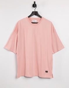 Розовая oversized-футболка Bershka-Розовый цвет