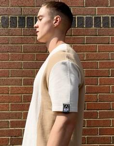 Бежевая футболка в стиле колор-блок Bershka-Светло-бежевый