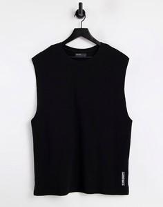 Черная трикотажная футболка без рукавов (от комплекта) Bershka-Черный цвет
