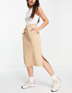 Бежевая юбка миди со шнурком на талии Selected Femme-Светло-бежевый цвет