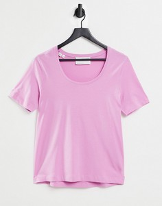 Розовая футболка с круглым вырезом Selected Femme-Розовый цвет
