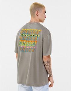 """Серая футболка с принтом """"Nirvana"""" на груди и спине Bershka-Серый"""