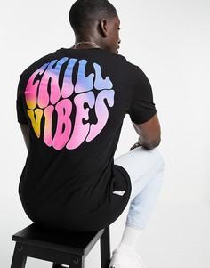 """Черная футболка с принтом """"Chill Vibes"""" на спине Bershka-Черный"""